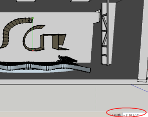 Fig.2 shows how, in plan view, how I used the measurement tool in SketchUp Make to take the required measurements.