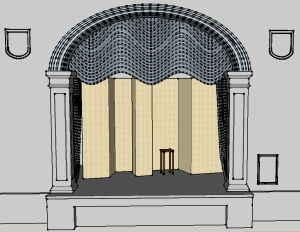 Fig. 22 shows a front elevation of the Abby theatre stage, with Yeats's proposed screen arrangements for the play Deirdre in place