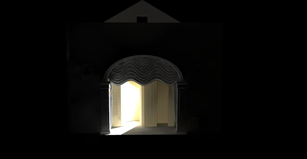 Rendered image for the Full Hour-Glass 3D model of the Abbey theatre Stage with two lights applied(2) - using Kerkythea
