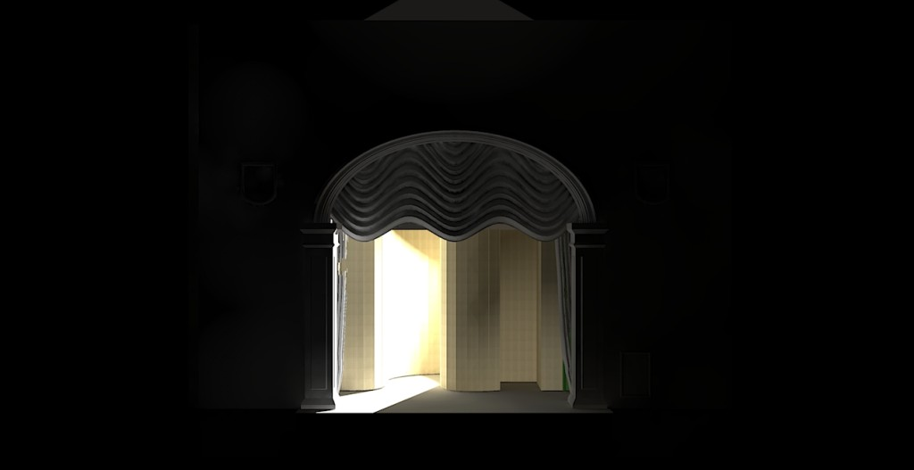 Rendered image for the Full Hour-Glass 3D model of the Abbey theatre Stage with two lights applied - using Kerkythea