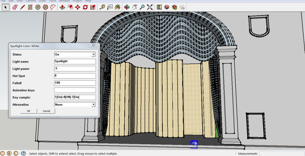 Intensity of the front-light in the Full Hour-Glass 3D model of the Abbey theatre Stage - using Kerkythea Sketchup plug-in