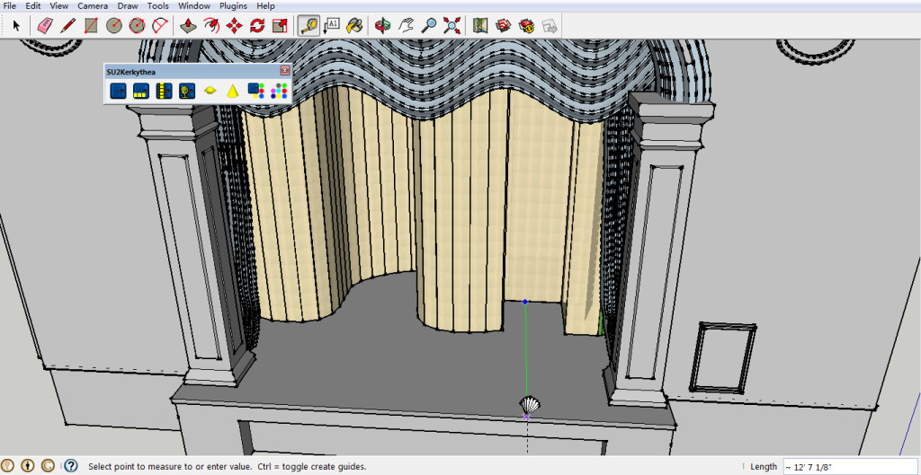 Position of the front-light in the Full Hour-Glass 3D model of the Abbey theatre Stage (12'7 - from the screen vertically) - using Kerkythea Sketchup plug-in